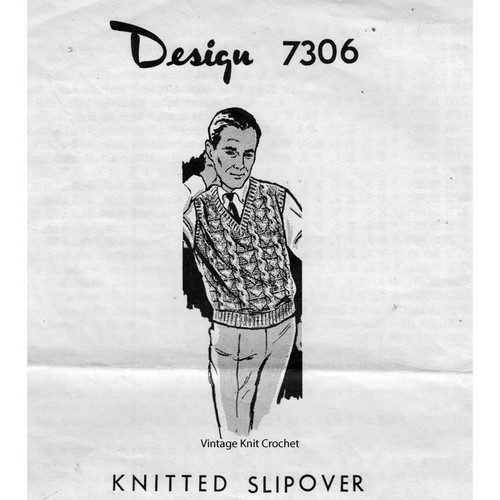 Mail Order Design 7306, Mans Slipover Knitting Pattern