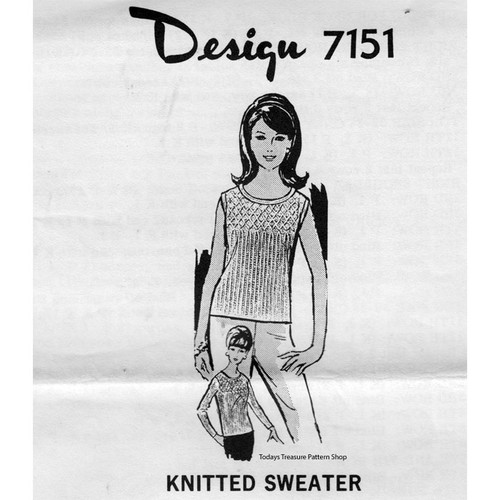 Mail Order Design 7151, Knitted Sweater Pattern