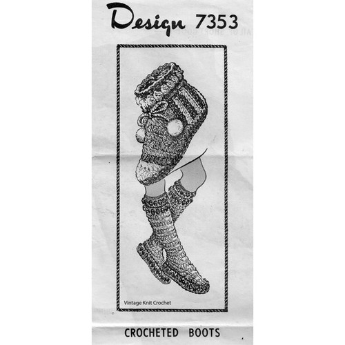 Mail Order Design 7353, Crochet Boots Pattern