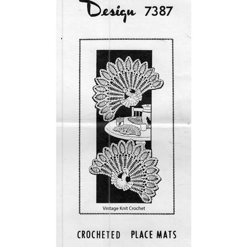Mail Order Design 7387, Crochet Peacock Mats or Chair Set Pattern