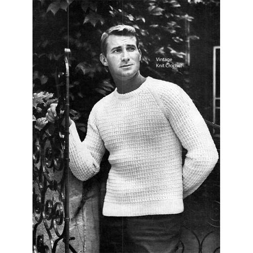 Mans Raglan Sleeve Knitted Pullover pattern