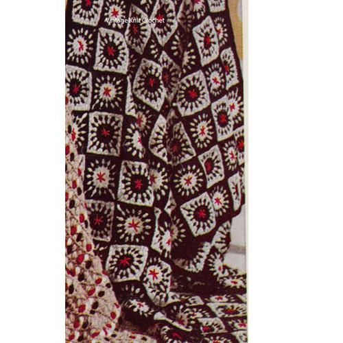 Vintage Block Afghan Pattern in three colors