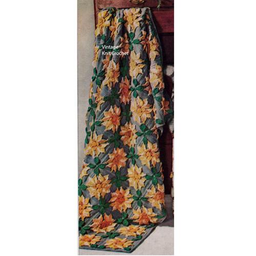 Vintage Sunflower Crocheted Afghan Pattern