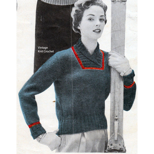 Blue Knitted Pullover Pattern, Vintage 1950s