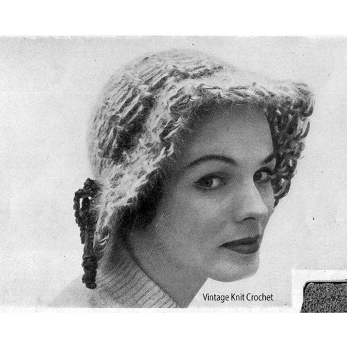 Vintage Angora Crocheted Cloche Pattern