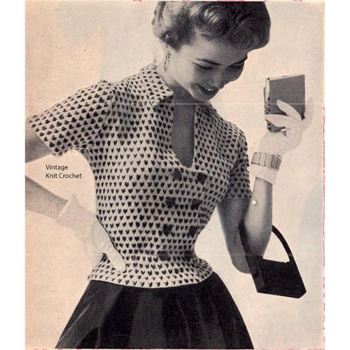 Knit Checked Blouse Pattern, Keyhole Neckline