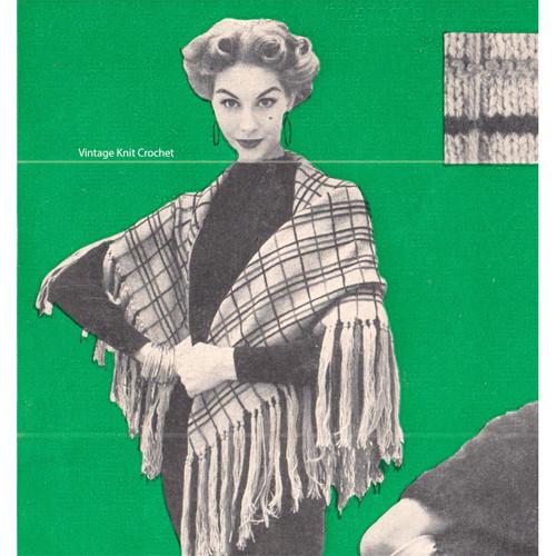 Plaid Stole Knitting Pattern, Triangle Shaped with long fringe