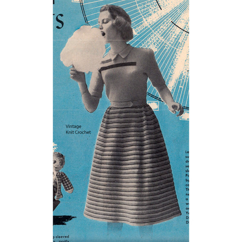 Girls Striped Dress Knitting Pattern, Short Sleeved