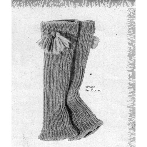 Vintage Knitted Knee Warmers Pattern with Tassels