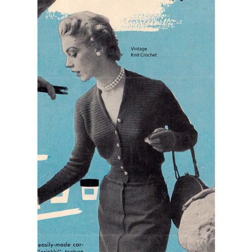 Fitted Cardigan Knitting Pattern, Vintage 1950s