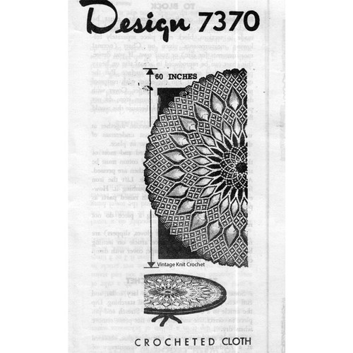 Mail Order Design 7370, Crochet Pineapple Cloth Pattern