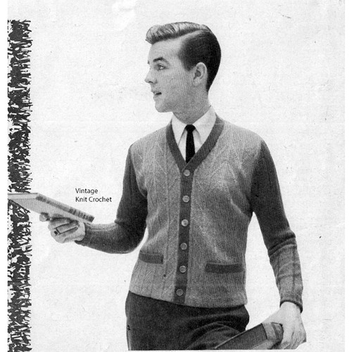 Mans Knitted Cardigan Pattern Contrast Trim