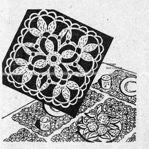 Flower Medallion Crochet Pattern, Workbasket 1948