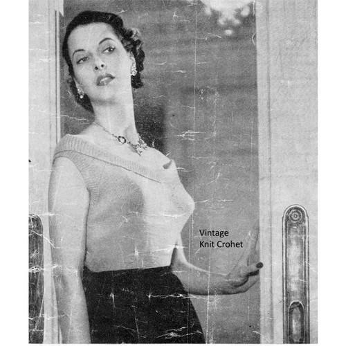 Vintage Knit Scoop Neck Shell Pattern