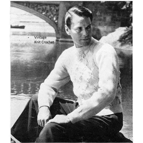 Vintage Mans Cable Stitch Pullover Knitting Pattern
