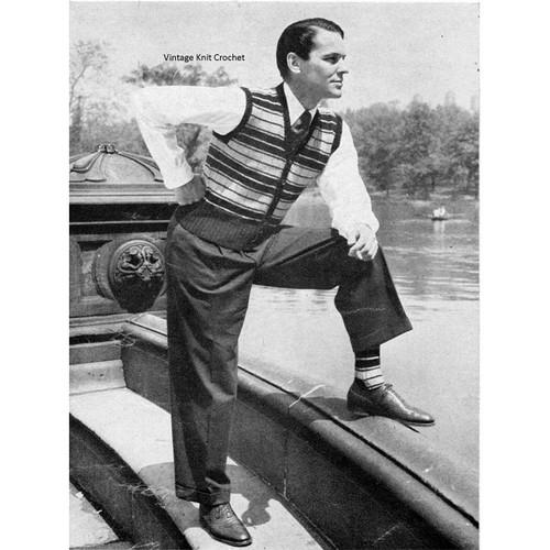 Vintage Mens Striped Vest Knitting Pattern