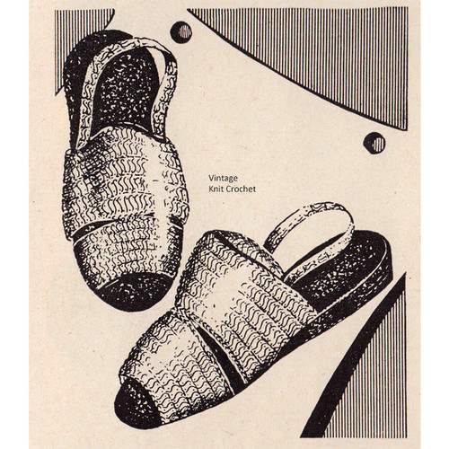 Workbasket Crocheted Scuffs Pattern, Vintage 1948