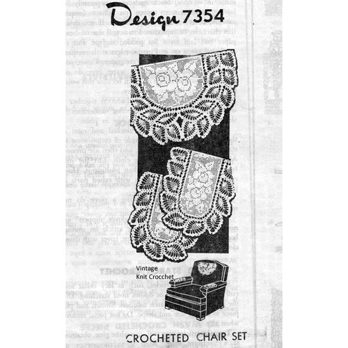Mail Order Design 7354, Filet Crocheted Chair Set