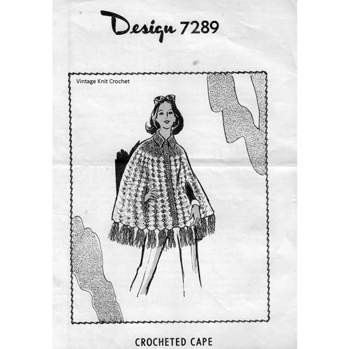Mail Order Design 7289, Crocheted Cape Pattern