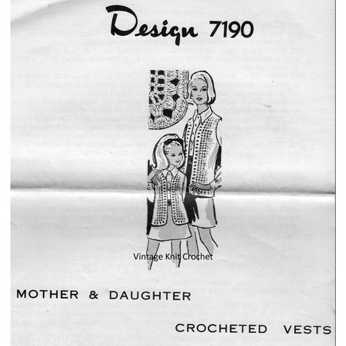 Mail Order Pattern 7190, Crocheted Vests