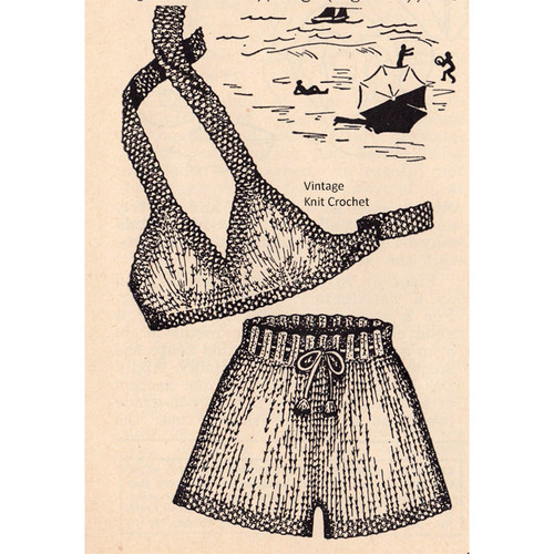Vintage Knitted Two Piece Bathing Suit Pattern in Seed Stitch
