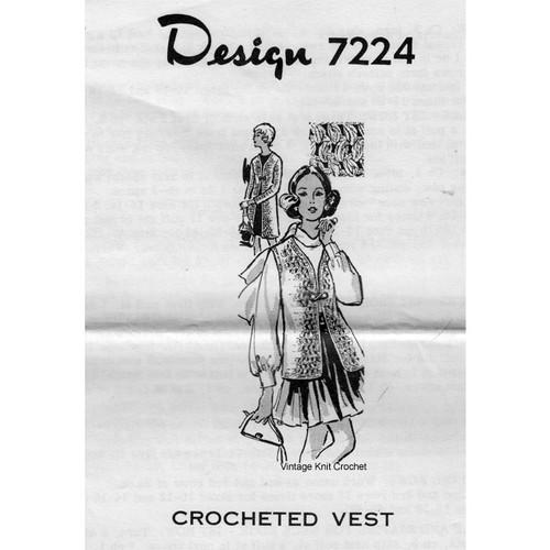 Mail Order Pattern 7224, Crocheted Vest Pattern