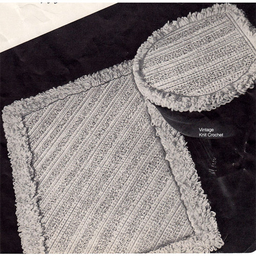 Crochet Bathroom Rug Pattern, Vintage 1950s