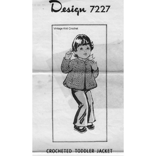 Design 7227, Toddler Jacket Crochet Pattern