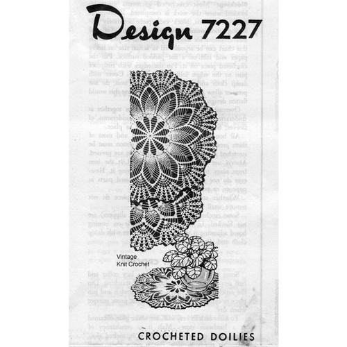 Design 7227, Crochet Pineapple Fan Doily Pattern