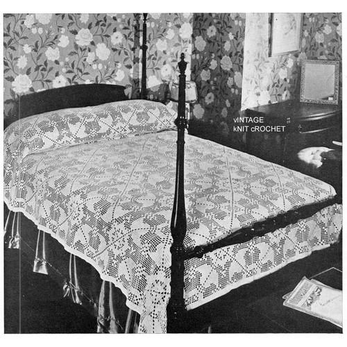 Vintage Mayfair Bedspread Pattern in Filet Crochet