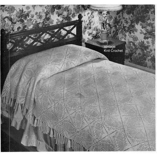 Sutton Place Filet Crochet Bedspread Pattern