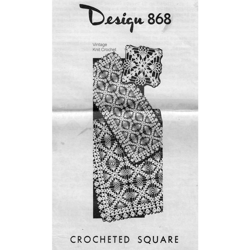 Mail Order Pattern 868, Crochet Pineapple Square with Shell Border