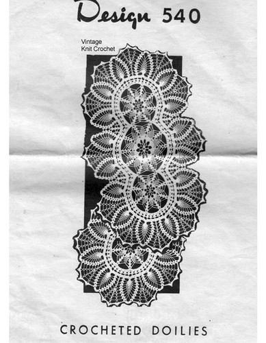 Oval Crocheted Pineapple Doilies Pattern, Mail Order 540