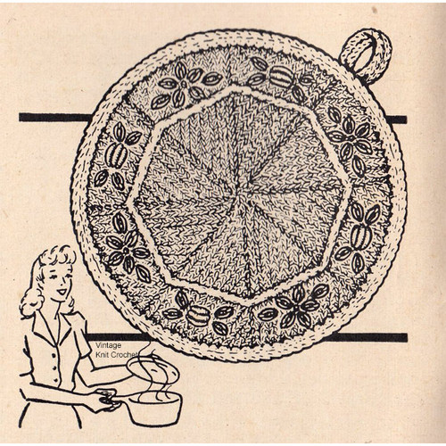 Free Potholder Knitting Pattern, Vintage Workbasket
