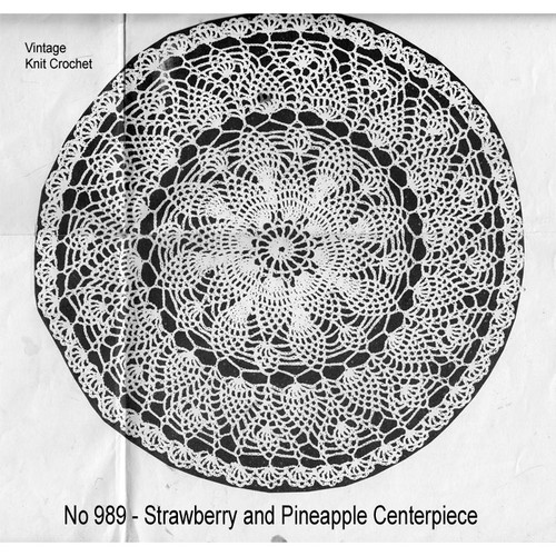Mail Order 989, Strawberry Pineapple Crochet Doily Pattern