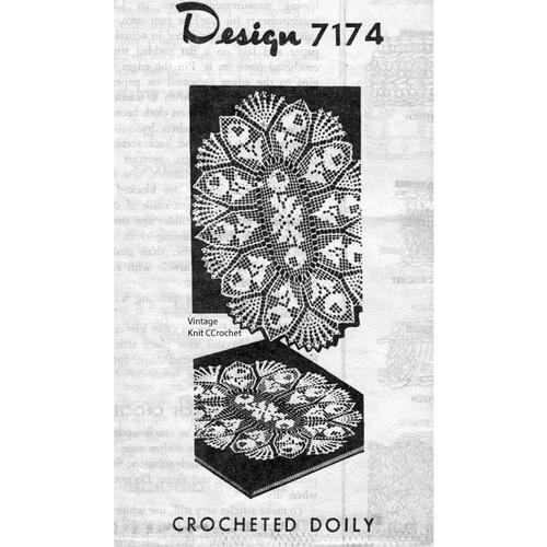 Alice Brooks 7174, Filet Crochet Oval Doily Pattern