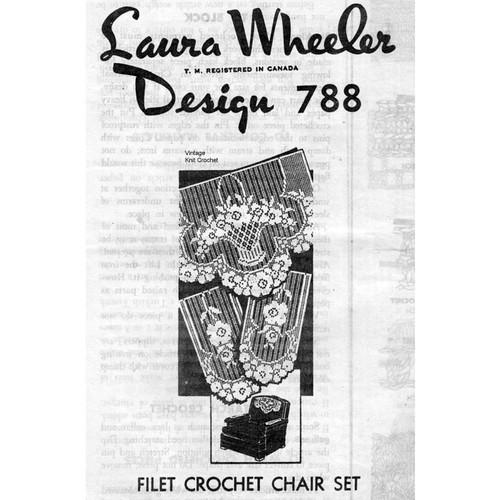 Laura Wheeler 788, Filet Crochet Flower Chair Set Pattern