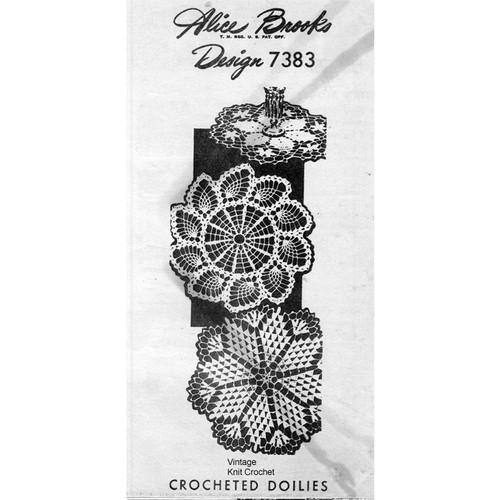 Alice Brooks 7373, Pineapple Pinwheel Crochet Doily Pattern