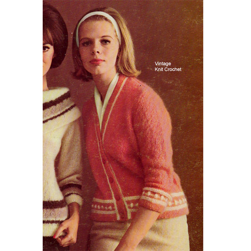 Knitting Pattern, Mohair Jacket with Contrast Trim
