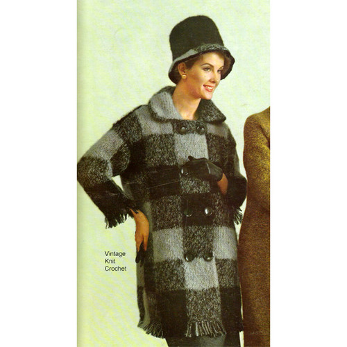 Mohair Knitted coat in checkerboards