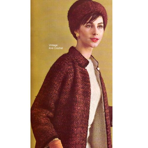 Knit Coat Pattern in Bernat Mohairspun Yarn