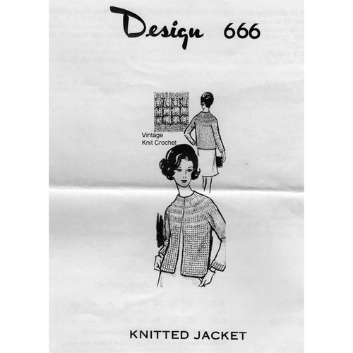 Laura Wheeler 666, Pucker Stitch Knitted Jacket Pattern
