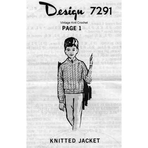 Alice Brooks 7291, Boys Cable Knit Jacket Pattern