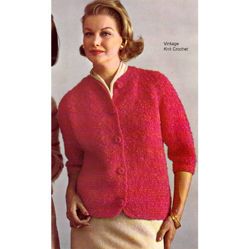 Vintage Nubby Mohair Cardigan Knitting Pattern