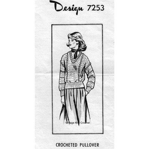 Alice Brooks 7253, Crocheted Pullover Pattern