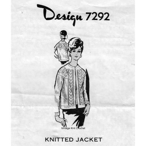 Alice Brooks 7292, Leaf Panel Knitted Jacket Pattern '