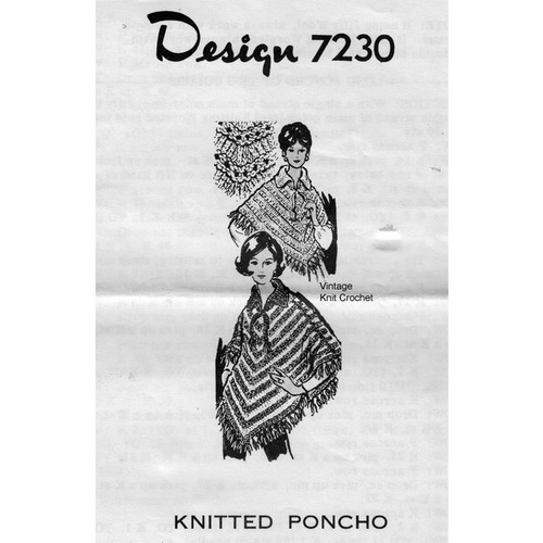 Alice Brooks 7230, Poncho Knitting Pattern