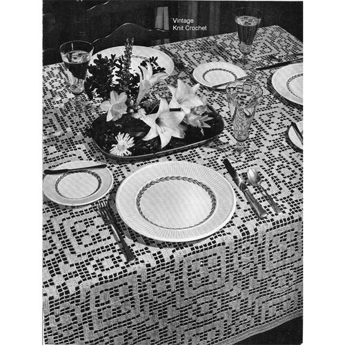 Filet Crocheted Tablecloth Pattern No 7747