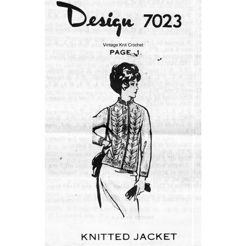 Alice Brooks 7023, Knitted Nehru Jacket Pattern