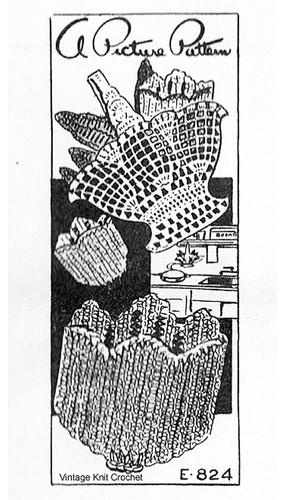 Crochet Basket Potholder Pattern, Mail Oder E-824
